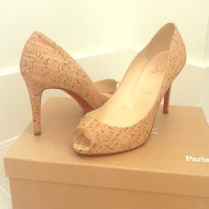 Fabulous Christian Louboutin cork peep toe heels